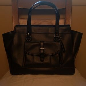 Black Leather Coach Charlie East West Tote